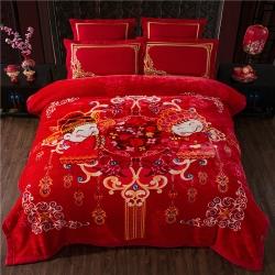 (总)凤凰林毛毯 2018新款 婚庆毯 大红云毯