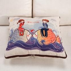 总 成印亮品垫业 棉麻印花抱枕被