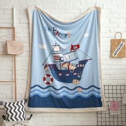熊孩子家居 儿童数码印花大版毛毯 航海日记