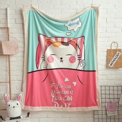 熊孩子家居 儿童数码印花大版毛毯 懒猫故事