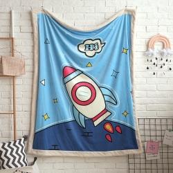 熊孩子家居 儿童数码印花大版毛毯 星月梦想