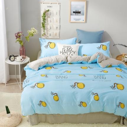 (总)�B柔家纺 活性印染水洗棉四件套床笠款