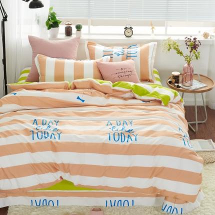�B柔家纺 13370全棉活性印花四件套床单款大梦想家