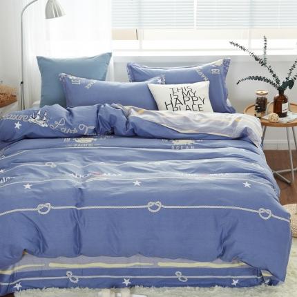 �B柔家纺 13370全棉活性印花四件套床单款环岛旅游(蓝)