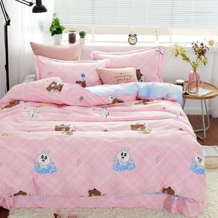 �B柔家纺 13370全棉活性印花四件套床单款快乐童年