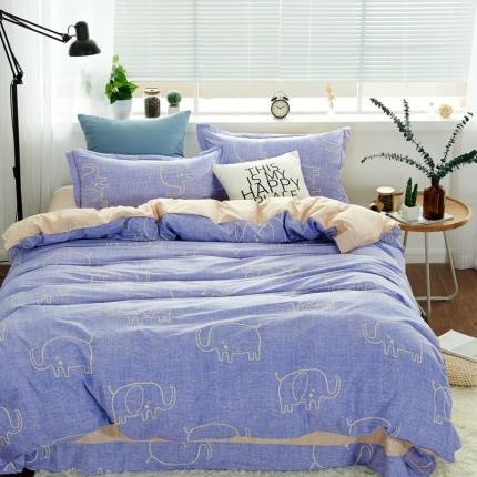 �B柔家纺 13370全棉活性印花四件套床单款俏皮小象