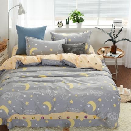 �B柔家纺 13370全棉活性印花四件套床单款日月星辰