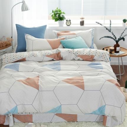 �B柔家纺 13370全棉活性印花四件套床单款享自由