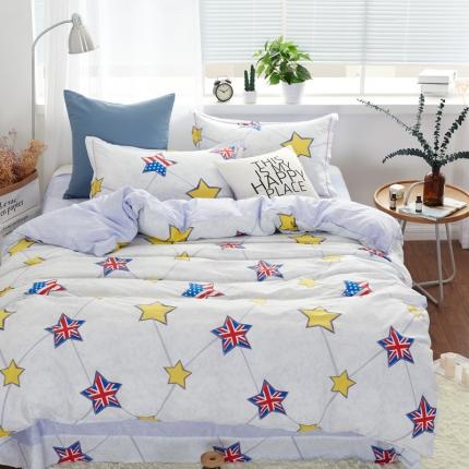 �B柔家纺 13370全棉活性印花四件套床单款星语心愿