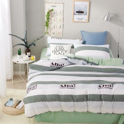 �B柔家纺 活性印染水洗棉四件套床单款巴赫