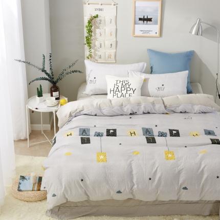 �B柔家纺 活性印染水洗棉四件套床单款欢乐时光-灰