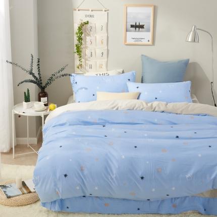 �B柔家纺 活性印染水洗棉四件套床单款皇冠