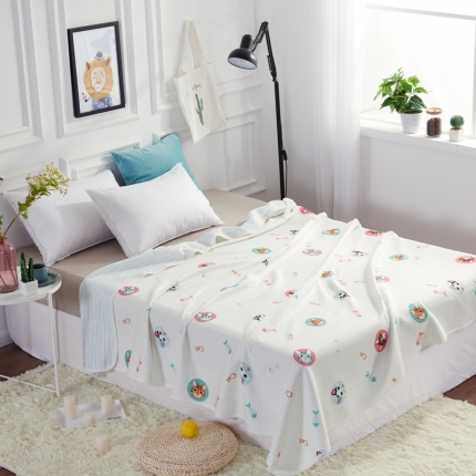 �B柔家纺 天竺棉印花系列夏被空调被猫咪