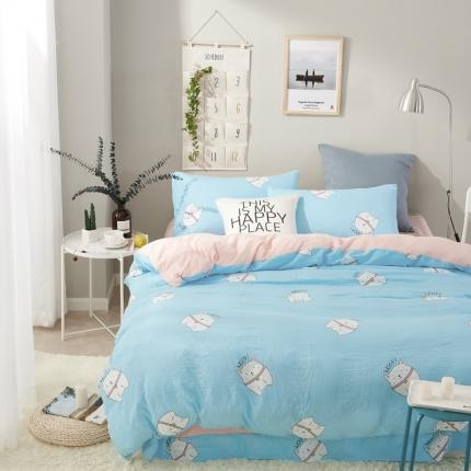 �B柔家纺 活性印染水洗棉四件套床单款快乐猫