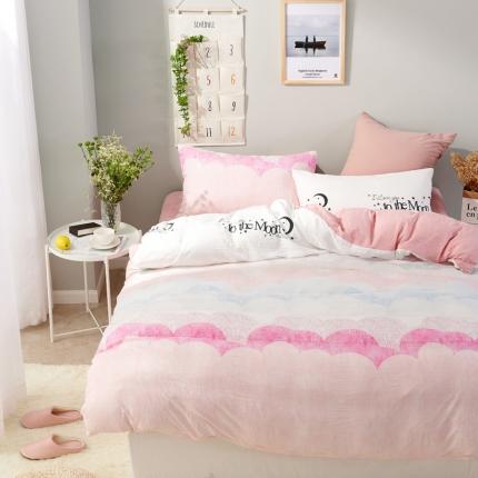 �B柔家纺 活性印染水洗棉四件套床单款梦游仙境-粉
