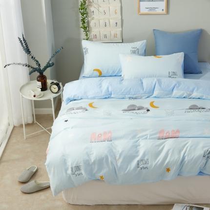 �B柔家纺 活性印染水洗棉四件套床单款泡沫之夏-蓝