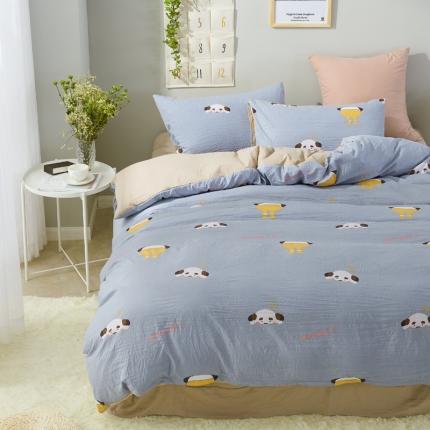 �B柔家纺 活性印染水洗棉四件套床单款淘气熊