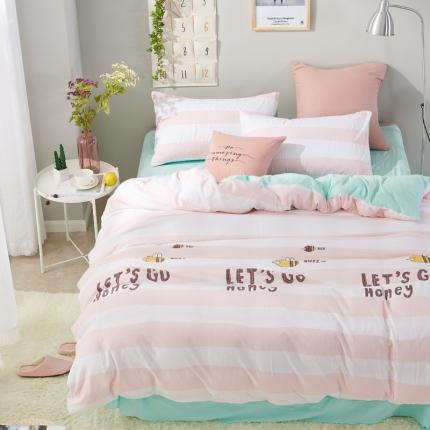 �B柔家纺 活性印染水洗棉四件套床单款永恒的爱-玉