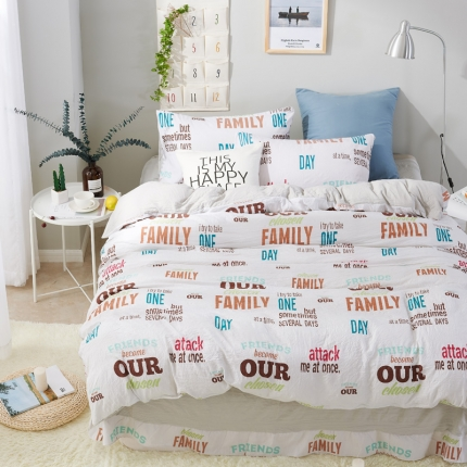 �B柔家纺 活性印染水洗棉四件套床单款字母王国