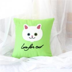未蓝家纺 2017毛巾复合绣抱枕可爱猫系列 绿色