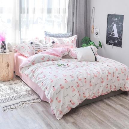 学生宿舍三件套 床单品被套  ins小清新四件套粉色烈鸟