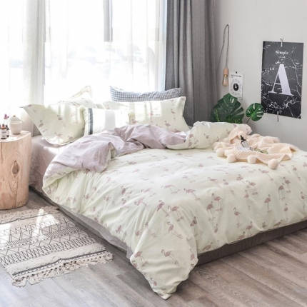 学生宿舍三件套 床单品被套 2018ins小清新四件套火烈鸟