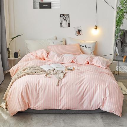 初识家纺 13372纯棉+宝宝绒静美系列四件套床单款 粉末