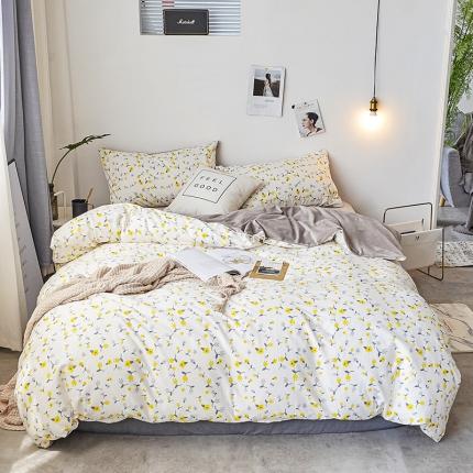 初识家纺 13372纯棉+宝宝绒静美系列四件套床单款 黄橘