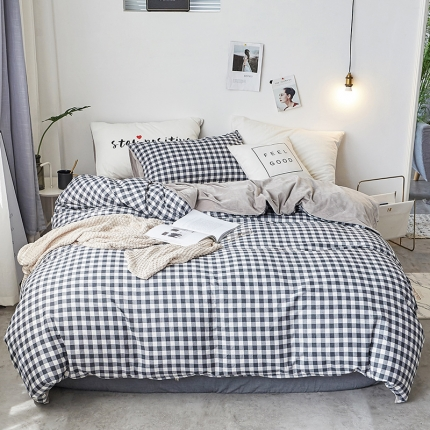 初识家纺 13372纯棉+宝宝绒静美系列四件套床单款 灰调