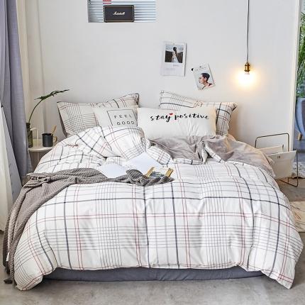 初识家纺 13372纯棉+宝宝绒静美系列四件套床单款 素锦