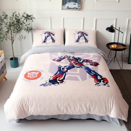 变形精钢四套件儿童水晶绒法莱绒英雄超人大版卡通宝宝绒数码印花