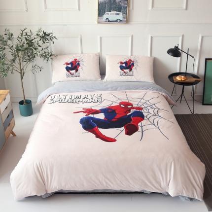 蜘蛛侠四件套儿童水晶绒法莱绒英雄超人大版卡通宝宝绒数码印花