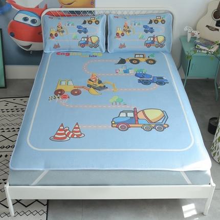 初识家纺 2019数码印花冰丝软席三件套 蓝色工程车