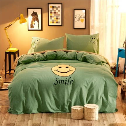摩妮卡 水洗棉刺绣四件套浪漫微笑