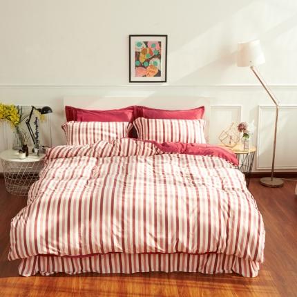 摩妮卡日式无印良品条纹格子加厚保暖水晶绒床单四件套横条枣红