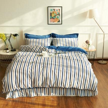 摩妮卡日式无印良品条纹格子加厚保暖水晶绒床单四件套条纹蓝色