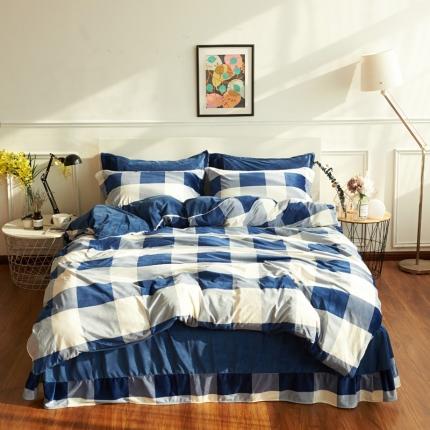摩妮卡日式无印良品条纹格子加厚保暖水晶绒床单四件套大格子蓝色