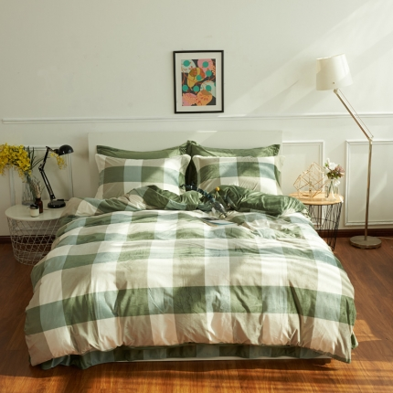 摩妮卡日式无印良品条纹格子加厚保暖水晶绒床单四件套大格子绿色