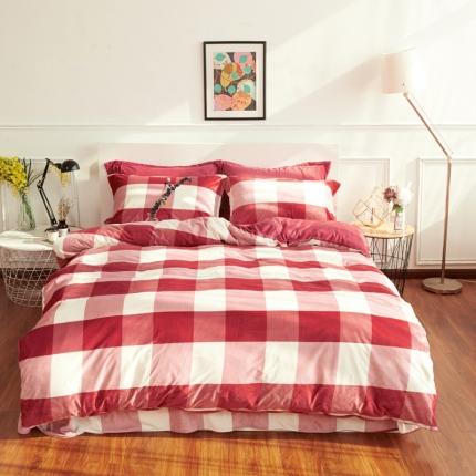 摩妮卡日式无印良品条纹格子加厚保暖水晶绒床单四件套大格子枣红