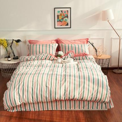 摩妮卡日式无印良品条纹格子加厚保暖水晶绒床单四件套格条-粉绿