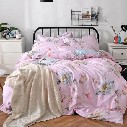 摩妮卡 100%纯棉北欧宜家风花卉 床单款四件套 落花时节