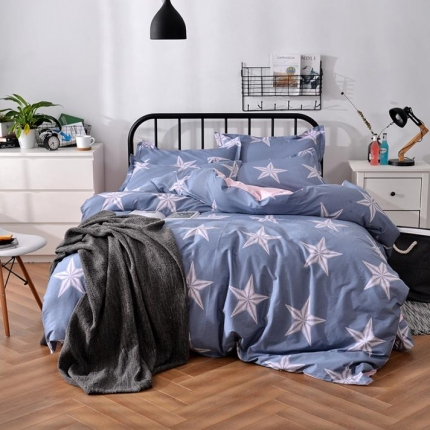摩妮卡 100%纯棉北欧宜家风花卉 床单款四件套 五角星花