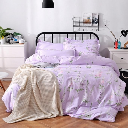 摩妮卡 100%纯棉北欧宜家风花卉 床单款四件套 薰衣草