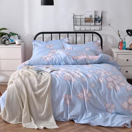 摩妮卡 100%纯棉北欧宜家风花卉 床单款四件套 烟花碧透