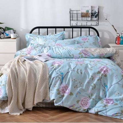 摩妮卡 100%纯棉北欧宜家风花卉 床单款四件套 花枝俏
