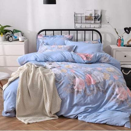 摩妮卡 100%纯棉北欧宜家风花卉 床单款四件套 红霞万朵