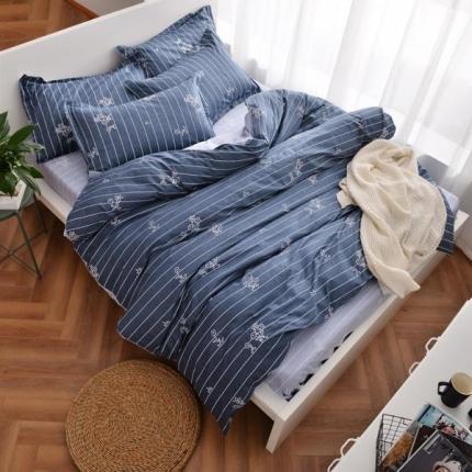 摩妮卡 100%纯棉北欧宜家风简约四件套 床单款 春之恋