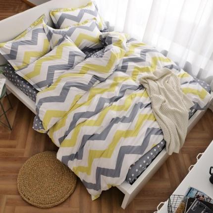 摩妮卡 100%纯棉北欧宜家风简约四件套 床单款 荡漾