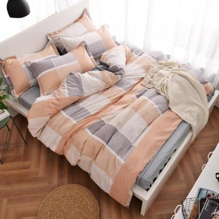 摩妮卡 100%纯棉北欧宜家风简约四件套 床单款 冬日晚风