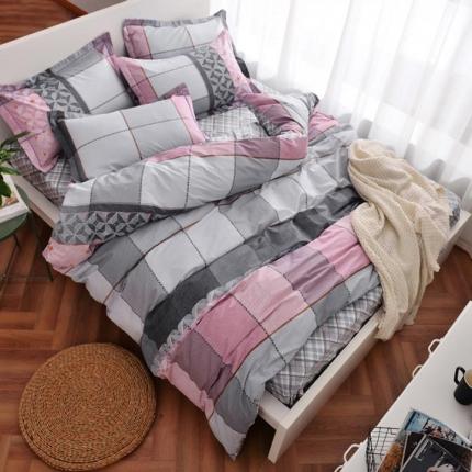 摩妮卡 100%纯棉北欧宜家风简约四件套 床单款 回忆青春